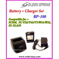 Icom -  Compatible Battery + Charger Set for BP-180, 1100mAh (7.2V) Ni-Mh  **GS-BP180**