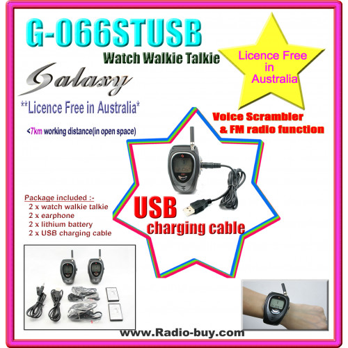GS-066ST USB Watch Walkie Talkie (476MHz) Licence Free in Australia
