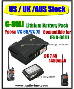 (US / UK /AUS Stock) G-80LI Battery compatible for Yaesu VX-6R/VX-7R (FNB-80LI)