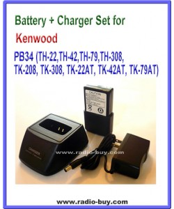 Kenwood - Compatible Battery + Charger Set for PB34 (TH-22,TH-42,TH-79,TH-308, TK-208, TK-308, TK-22AT, TK-42AT, TK-79AT)