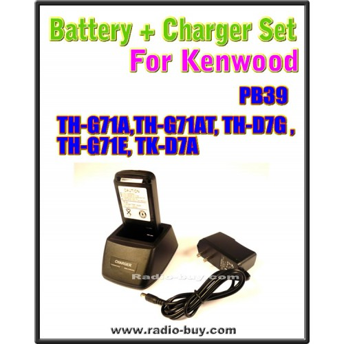 Kenwood - Compatible Battery + Charger Set for PB39 (TH-G71A,TH-G71AT, TH-D7G , TH-G71E, TK-D7A)