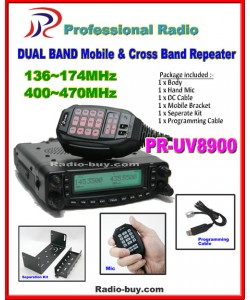 Professional Radio PR-UV8900 Dual Band Mobile+Cross Band Repeater 136-174/400-470MHz +Program Cable