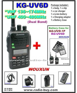 Wouxun KG-UV6D Dual Band Radio (136-174MHz and 400-480MHz) + Battery Case
