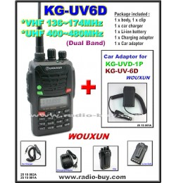Wouxun KG-UV6D Dual Band Radio (136-174MHz and 400-480MHz) + Car Adaptor