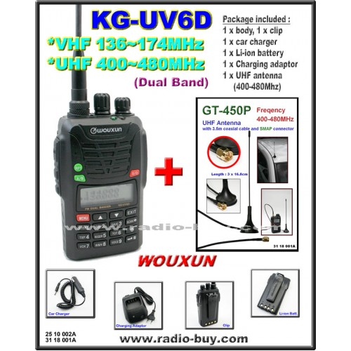 Wouxun KG-UV6D Dual Band Radio (136-174MHz and 400-480MHz) + UHF Band Mobile Antenna GT-450P*