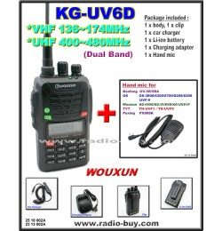 Wouxun KG-UV6D Dual Band Radio (136-174MHz and 400-480MHz) + Mini Hand Mic