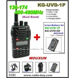 Wouxun KG-UVD1P Dual Band Radio (136-174MHz and 400-480MHz) + Additional Battery