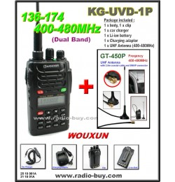 Wouxun KG-UVD1P Dual Band Radio (136-174MHz and 400-480MHz) + UHF Band Mobile Antenna GT-450P