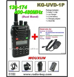 Wouxun KG-UVD1P Dual Band Radio (136-174MHz and 400-480MHz) + Mini Hand Mic