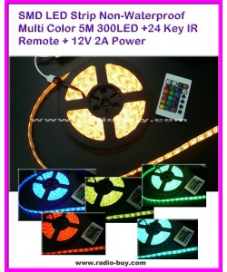SMD LED Strip Non-Waterproof Multi Color 5M 300LED +24 Key IR Remote + 12V 2A Power