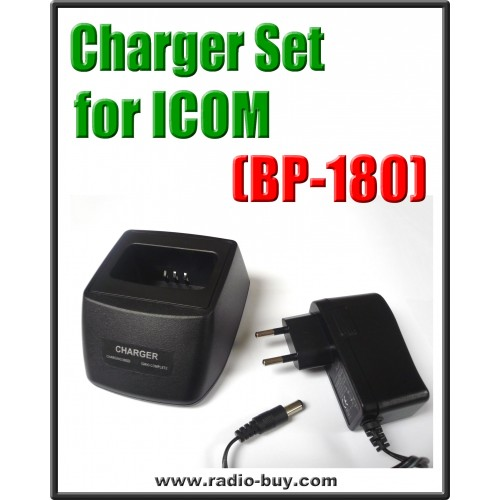 Icom -  Compatible Charger Set for BP-180 (ICOM IC-W31/32 T7H/22/42 IC-Z1A/E)