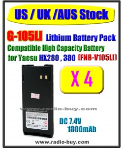 (US / UK / AUS Stock ) G-105LI x 4 pcs Battery compatible for Yaesu/Vertex HX280 HX380 (FNB-V105LI)