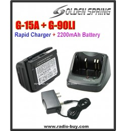 G-90LI + G-15A High Capacity Battery and Charger Cradle Set compatible for Yaesu VX-6R/VX-7R (FNB-80LI)