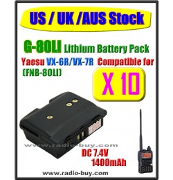 (US / UK /AUS Stock) G-80LI x 10 pcs Battery compatible for Yaesu VX-6R/VX-7R (FNB-80LI)