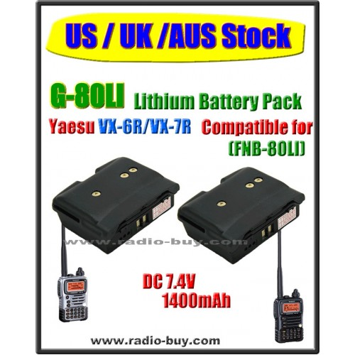 (US / UK /AUS Stock) G-80LI x 2 pcs Battery compatible for Yaesu VX-6R/VX-7R (FNB-80LI)
