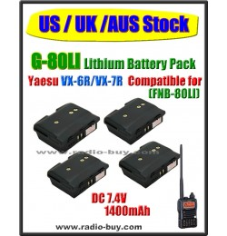 (US / UK /AUS Stock) G-80LI x 4 pcs Battery compatible for Yaesu VX-6R/VX-7R (FNB-80LI)