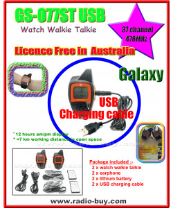 GS-077ST USB Watch Walkie Talkie (476MHz) Licence Free in Australia