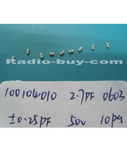 Electronics Component - Capacitors 10010-4010 x 20pc GRM1885C1H2R7CZ01D (SMD 2.7PF ±0.25PF NPO 50V 0603)