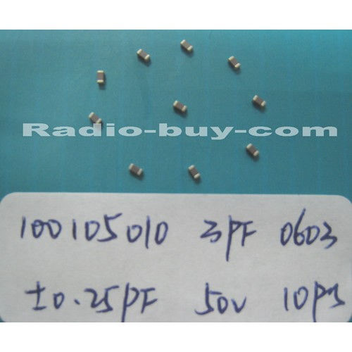 Electronics Component - Capacitors 10010-5010 x 20pc GRM1885C1H3R0CZ01D (SMD 3PF ±0.25PF NPO 50V 0603)