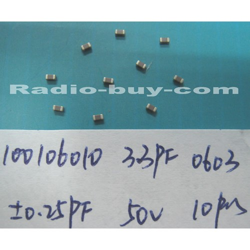 Electronics Component - Capacitors 10010-6010 x 20pc GRM1885C1H3R3CZ01D(SMD 3.3PF ± 0.25PF NPO 50V 0603)