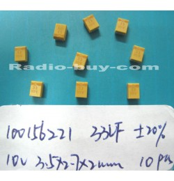 Electronics Component - Tantalum Electrolytic Capacitor 10015-6221 x 10pc (SMD 33UF 10V±20% 3.5*2.7*2MM)