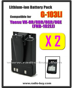 G-103LI x 2 pcs Battery compatible for Yaesu VX-8R/8DR/8GR (FNB-102LI)*