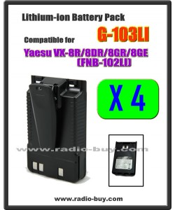 G-103LI x 4 pcs Battery compatible for Yaesu VX-8R/8DR/8GR (FNB-102LI)**