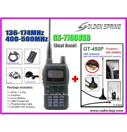 Golden Spring GS-7700USB (Dual Band) + GT-450P UHF Antenna *