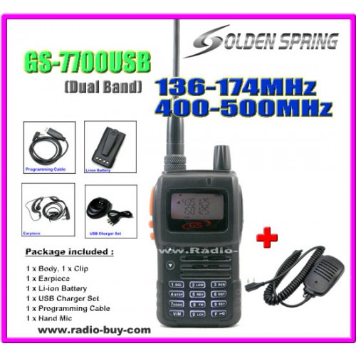 Golden Spring GS-7700USB (Dual Band) + Hand Mic **