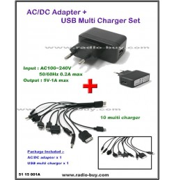 AC/DC Adaptor + USB multi charger set for Smart Phone