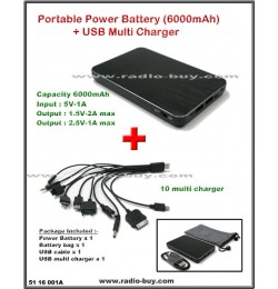 Portable Power Battery (6000mAh) + USB Multi Charger Set for Smart Phones