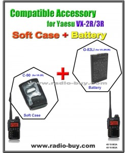 C-90 + G-82LI Compatible Soft Case and Battery for Yaesu (CSC-90 & FNB-82LI)