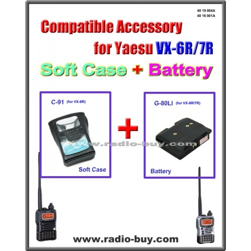 C-91 + G-80LI Soft Case & Battery Compatible for Yaesu VX-6R/7R