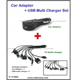 Car Adaptor + USB Charger Set for Smart Phones