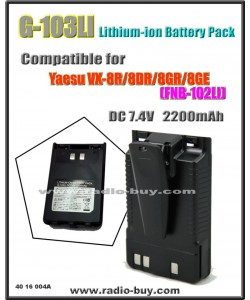 G-103LI Battery compatible for Yaesu VX-8R/8DR/8GR/FT1DR/XDR/FT2DR (FNB-101,FNB-102LI)