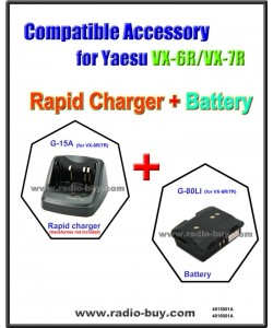G-15A+G-80LI Compatible Rapid Charger & Battery for Yaesu 6R/7R/VXA700/710  (CD-15A FNB-80LI)