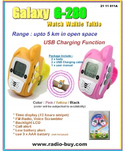 Galaxy G-280ST Dog Style Watch Walkie Talkie (5KM in open space) FM Radio,voice scrambler