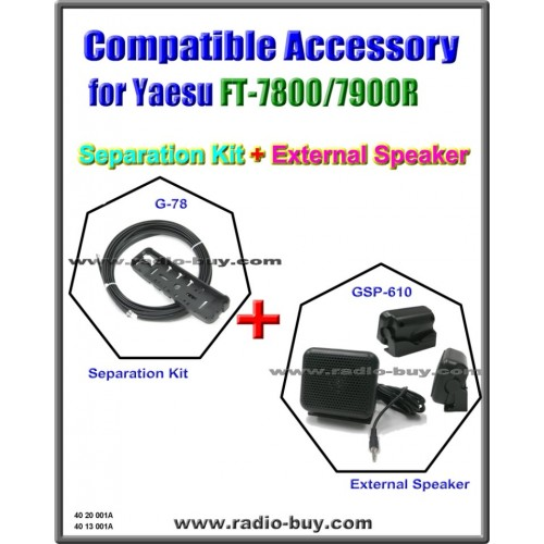 G-78+GSP-610 Separation Kit & External Speaker Compatible for Yaesu FT-7800/7900