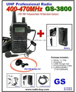 Golden Spring GS-3800USB FRS/ GMRS/PMR/UHF 400-470MHz FM Radio + Additional Lithium Battery (1200mAh)