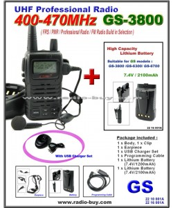 Golden Spring GS-3800USB FRS/ GMRS/PMR/UHF 400-470MHz FM Radio + Additional Lithium Battery (2100mAh)*