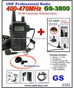 Golden Spring GS-3800USB FRS/ GMRS/PMR/UHF 400-470MHz FM Radio + Dual Band Antenna GT-450P (400-480MHz)