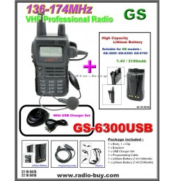 Golden Spring GS-6300USB Amateur Radio (VHF 136-174MHz)+ Additional High Capacity Lithium Battery (2100mAh)*