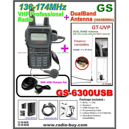 Golden Spring GS-6300USB Amateur Radio (VHF 136-174MHz)+ Dual Band Antenna GT-UVP (144/450MHz)