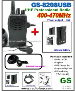 Golden Spring GS-8208USB Amateur Radio (UHF 400-470MHz)+ Additional Lithium Battery