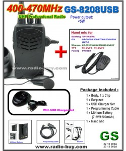 Golden Spring GS-8208USB Amateur Radio (UHF 400-470MHz)+ Mini Hand Mic