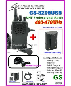 Golden Spring GS-8208USB Amateur Radio (UHF 400-470MHz)+ Additional High Lithium Battery GB-803*