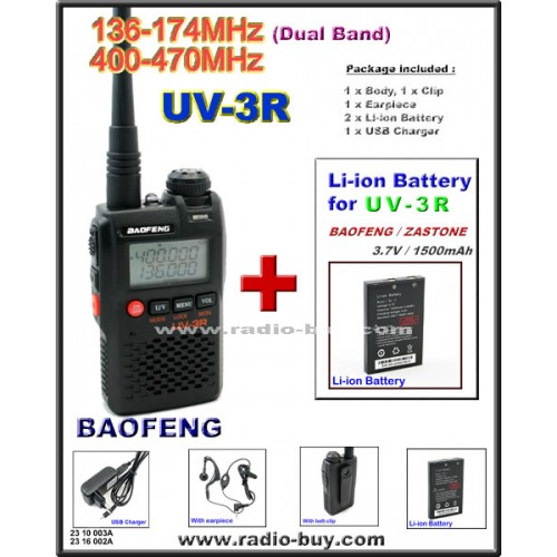 BaoFeng UV-3R Dual Band (136-174MHz & 400-470MHz) + Additional Battery