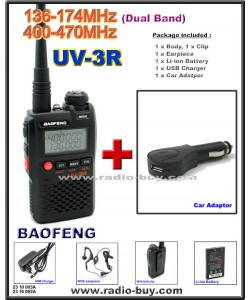 BaoFeng UV-3R Dual Band (136-174MHz & 400-470MHz) + Car Adaptor