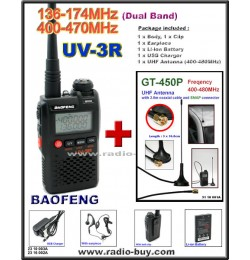 BaoFeng UV-3R Dual Band (136-174MHz & 400-470MHz) + UHF Band Mobile Antenna GT-450P