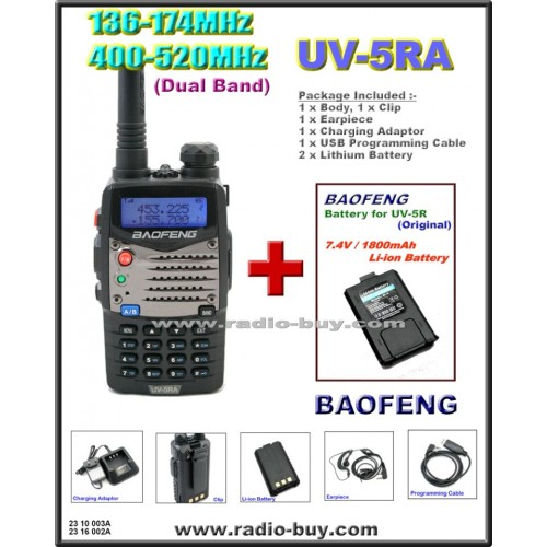 BaoFeng UV-5RA Dual Band (136-174MHz & 400-520MHz) + Additional Battery